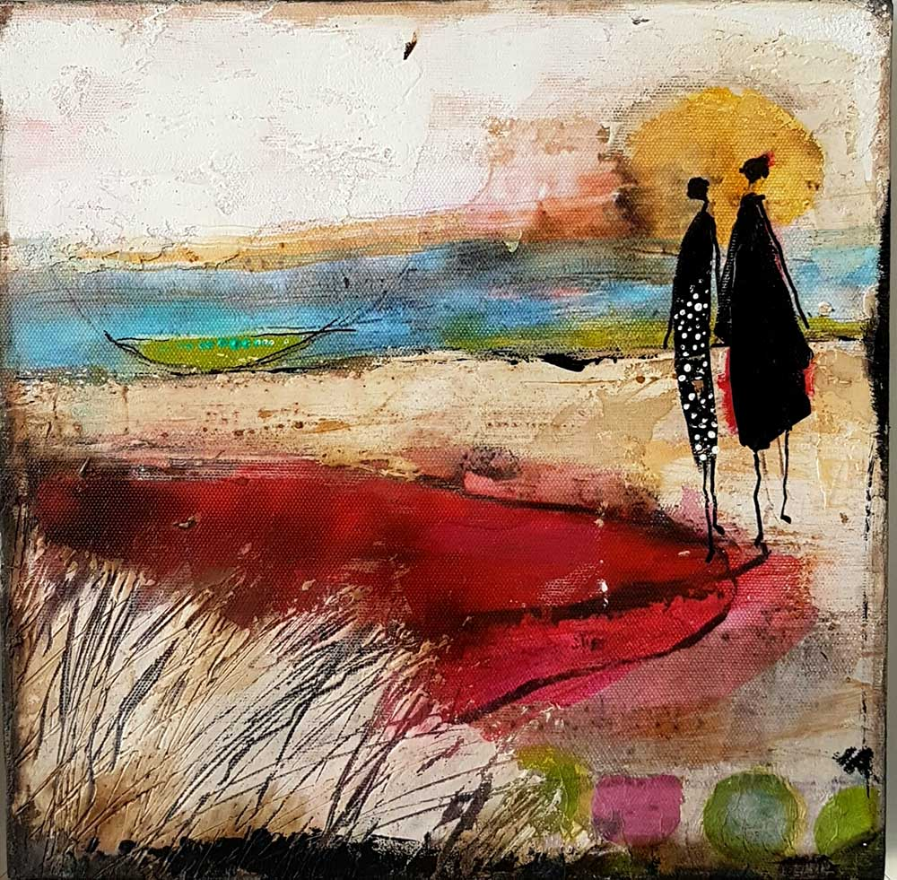 By the Lake, mixed media on canvas, 30cm x 30cm, 2017