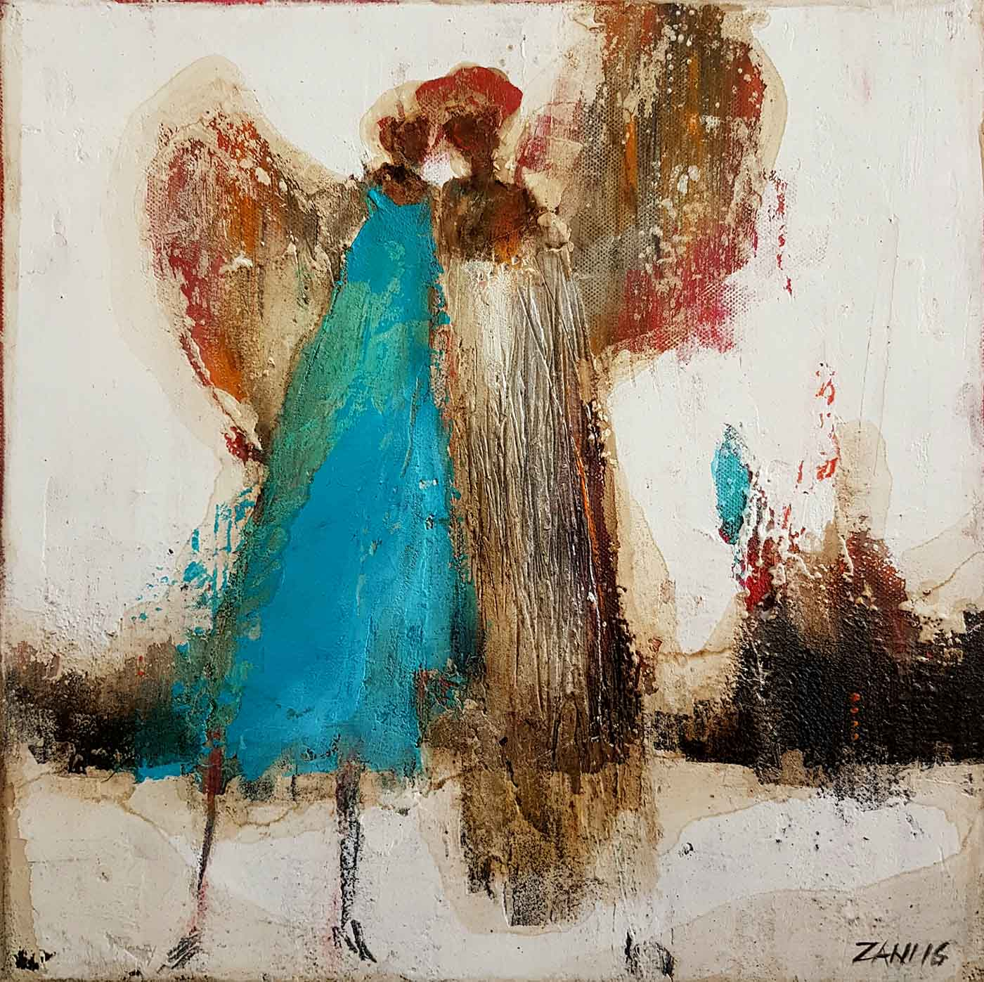 Angels, 40cm x 40cm, acrylic on canvas