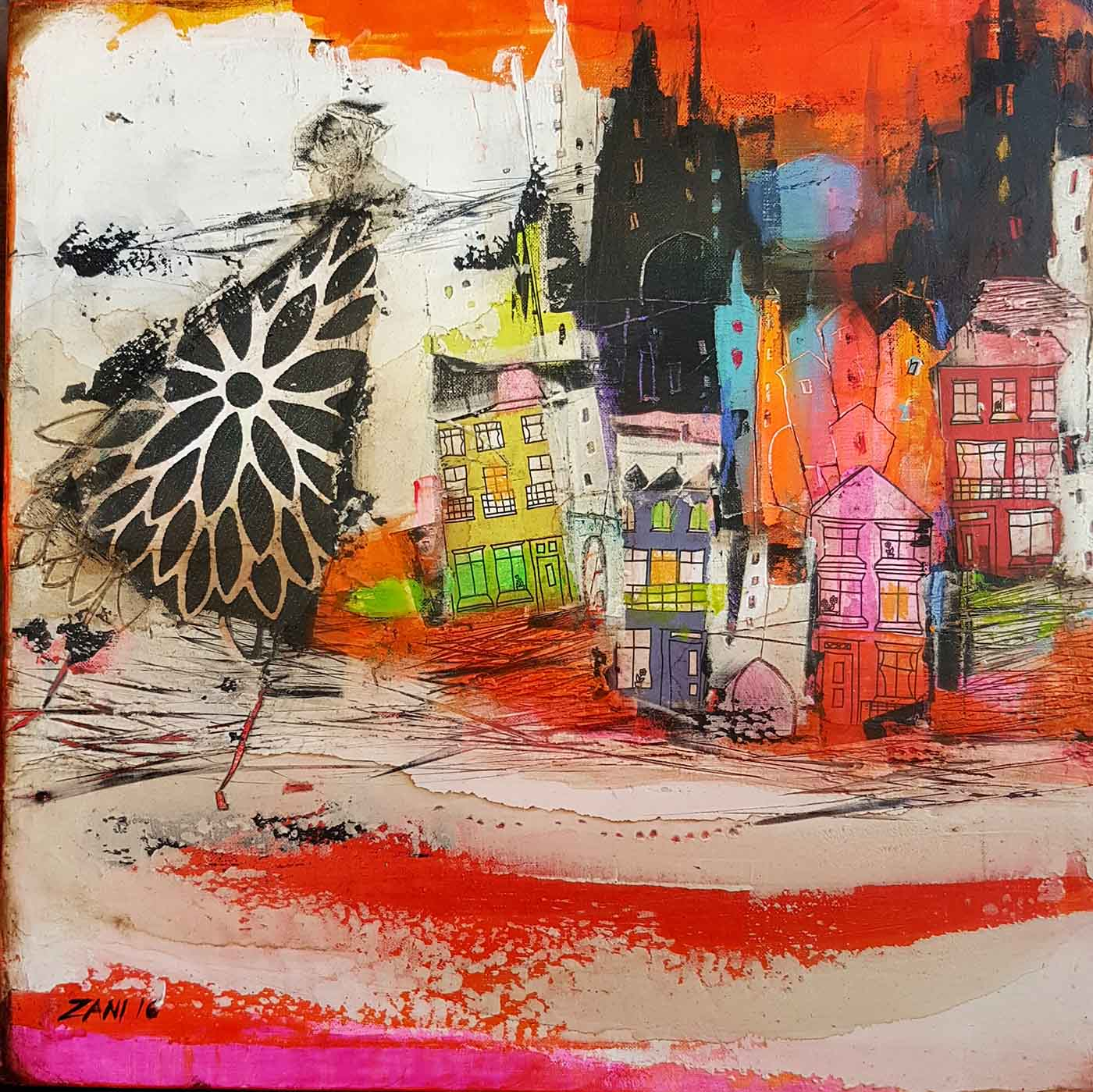 Colourful town, 40cm x 40cm, acrylic on canvas
