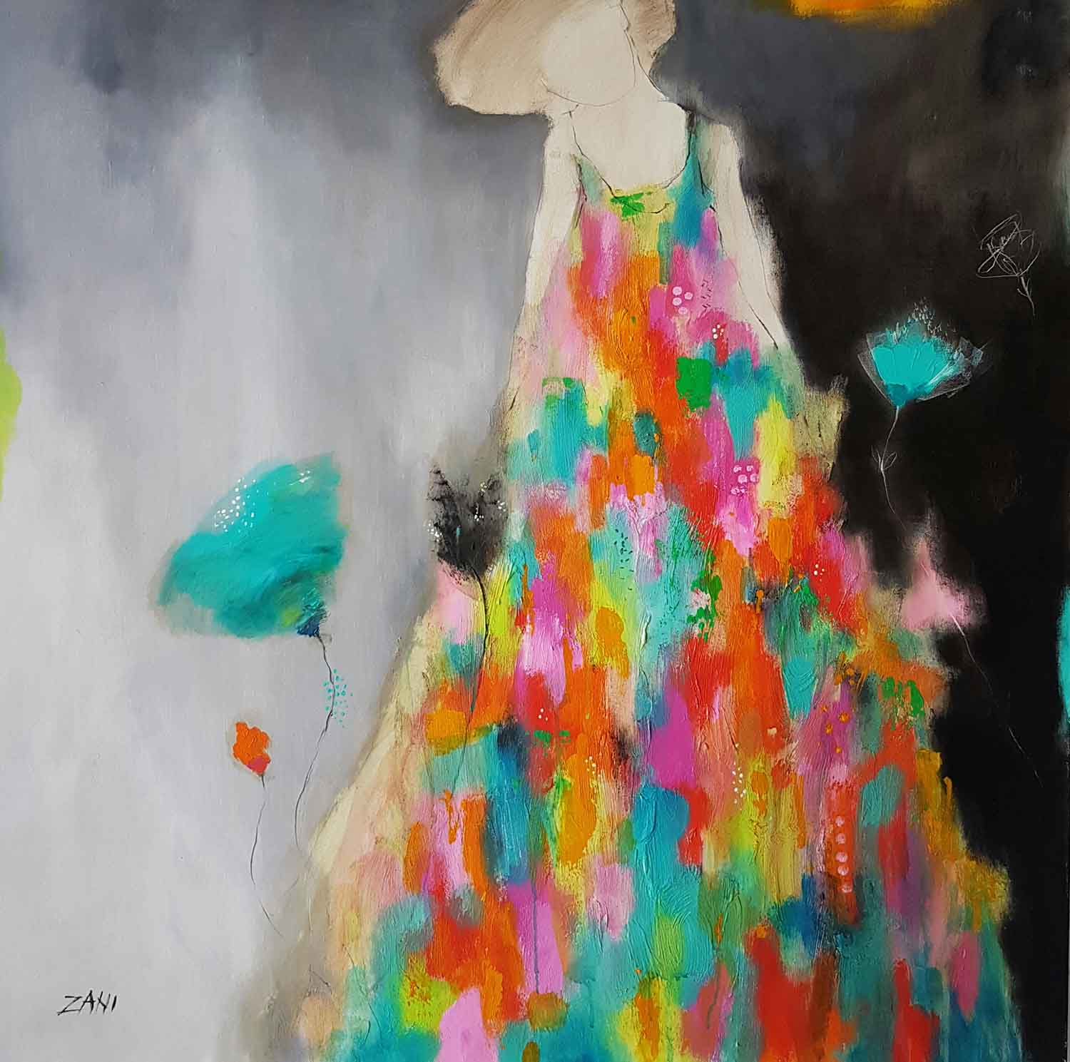 Woman with the turquoise flower, 100cm x 100cm