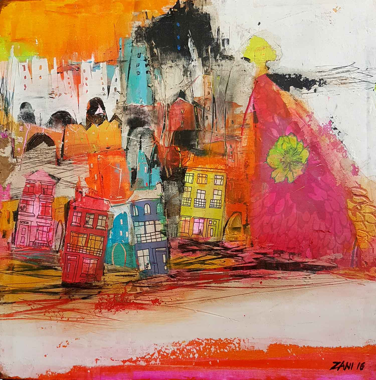 Colourful town I, 40cm x 40cm, acrylic on canvas
