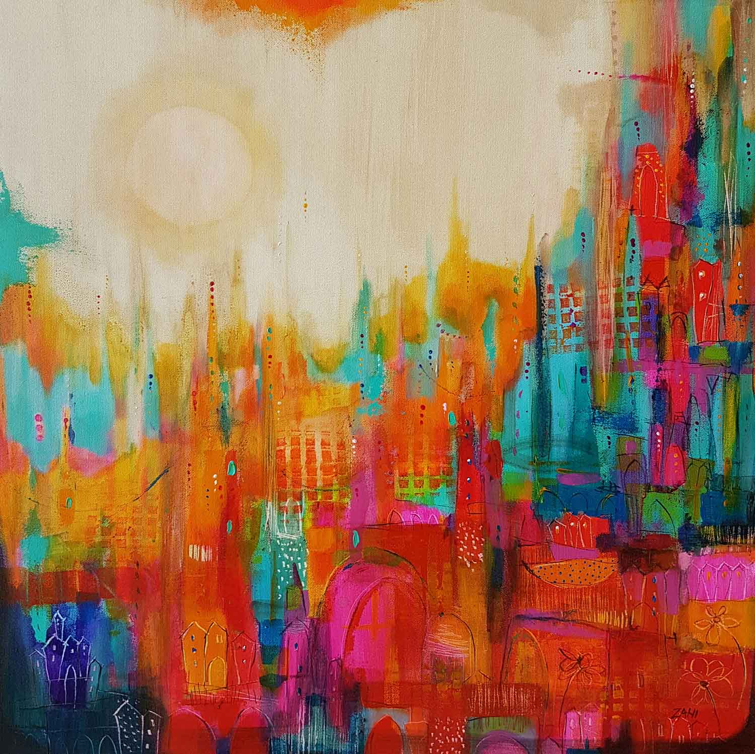 Colorful town, 100cm x 100cm