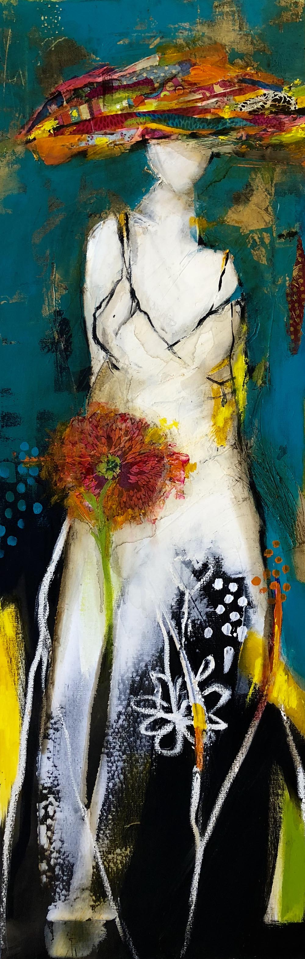 Woman With a Flower II, 120x40cm